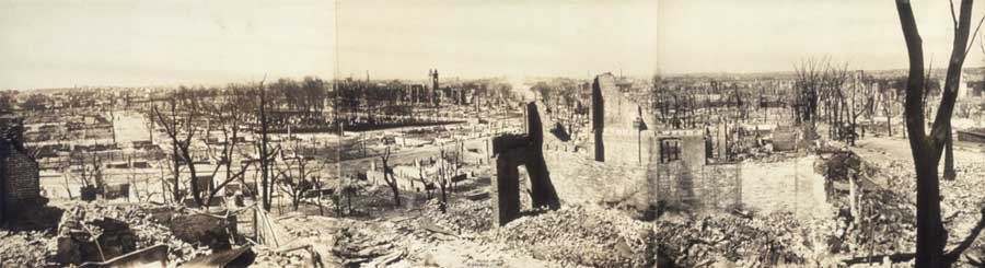 "A panoramic view of the ruins of the great fire that destroyed much of Chelsea, Massachusetts, on April 12, 1908. It is not clear whether the fire destroyed Samuel and Isaac's rag business or whether they were even in business together at that time. What is known is that Isaac Razin lost all his possessions in the fire. According to his son Hyman, ""My father…experienced the Chelsea flood and Chelsea fire in the years 1908 and 1909. He lost everything in both disasters.""[5] Credit: ©1908 Geo. H. Walker & Co. Library of Congress, Prints and Photographs Division [reproduction number: PAN US GEOG-Massachusetts no. 16]"