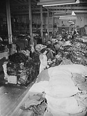 Rag workers sorting and grading rags. Shapiro Company, Baltimore, Maryland, 1942 Credit: Photographer: Howard Liberman; Library of Congress, Prints and Photographs Division [reproduction number LC-USE6-D-002244 and LC-USE6-D-002245]