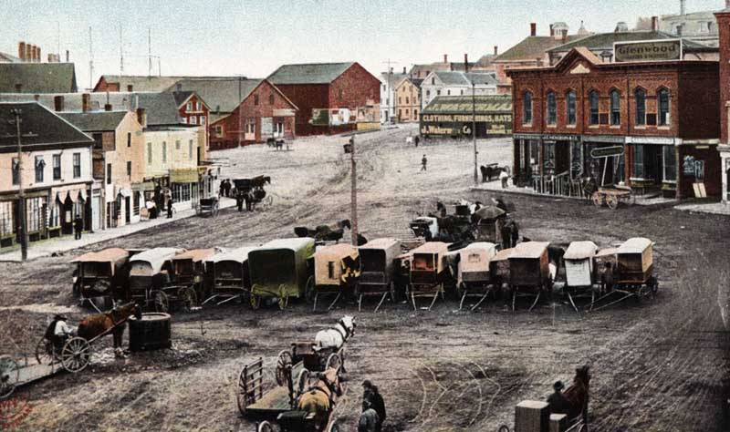 Haymarket Square, Bangor, Maine in the early 1900s. Shloime likely became familiar with this area when he went to Bangor. Credit: © circa 1904 The Metropolitan News Co., Boston, Mass. and Germany