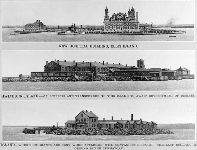 Additional buildings used by the U.S. government to quarantine immigrants with contagious diseases. Credit: Created 1902 Unidentified photographer. Library of Congress, Prints and Photographs Division [reproduction number LC-USZ62-116221].