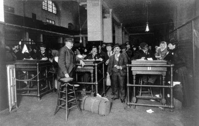 People who passed the inspection process at Ellis Island were discharged here and were free to start their lives in America. Credit: Created 1902 Unidentified photographer. Library of Congress, Prints and Photographs Division [reproduction number LC-USZ62-93251].