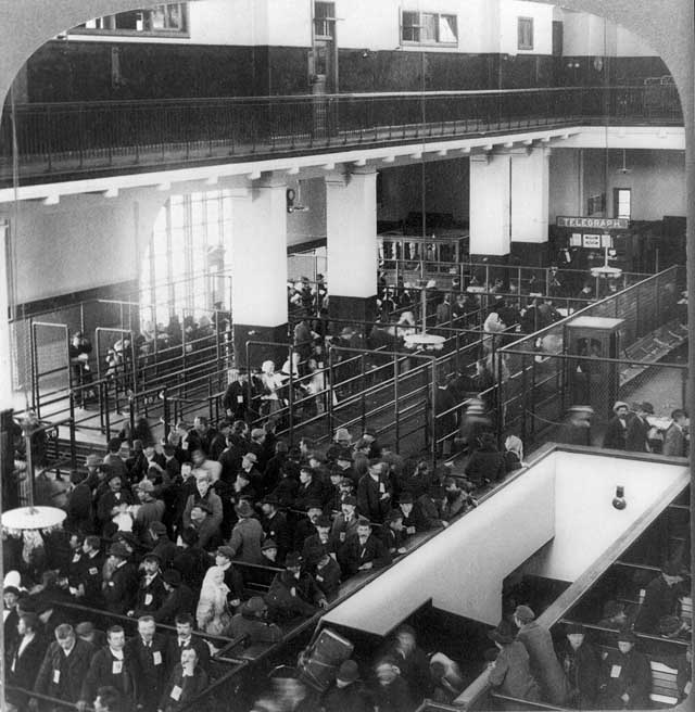 This great hall in the main building on Ellis Island was called the registry room. Here, the grueling processing procedure to gain admission to the United States began in earnest. Credit: © 1904 Underwood & Underwood. Library of Congress, Prints and Photographs Division [reproduction number LC-USZ62-15539].