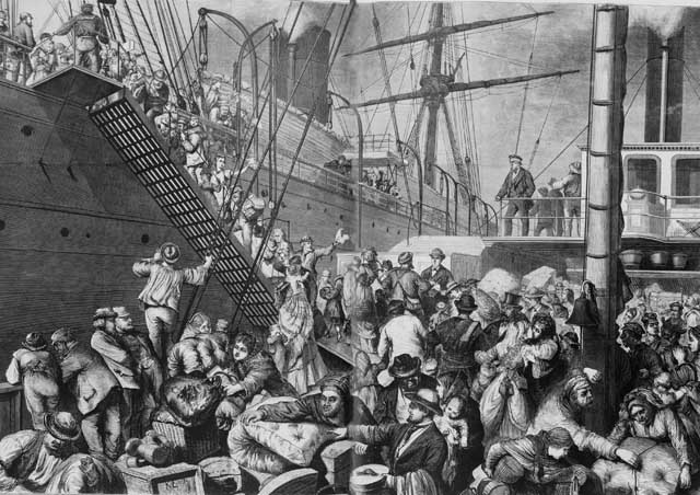 Wood engraving of German emigrants in Hamburg boarding a steamer bound for New York, 1874. The conditions were not much different when Samuel Gass sailed from the same port 29 years later. Credit: Illustration in Harper's Weekly, 7 Nov 1874; pp. 916-917. Library of Congress, Prints and Photographs Division [reproduction number: LC-USZ62-100310].