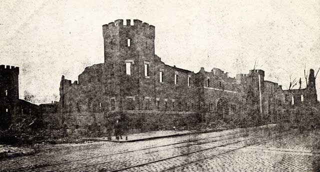 All that remained of the Chelsea Armory, 1908 Credit: Postcard published by The Metropolitan News Company, Boston.