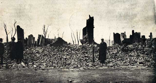 Ruins of the residential section on Chester Avenue after the big fire of April 12, 1908 Credit: Postcard published by N.E. Paper & Stationery Co., Ayer, Mass., 1908