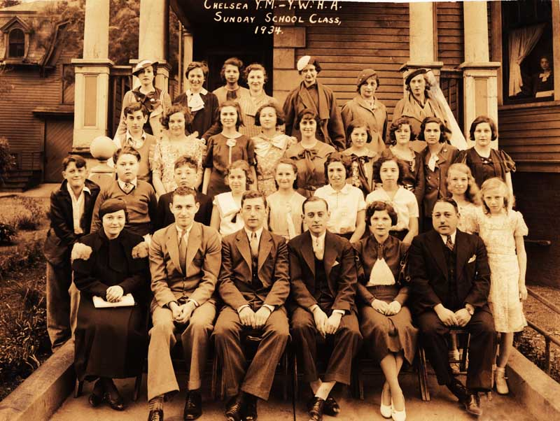 The Sunday School Class of 1934, Chelsea YM-YWHA. Back row, 2nd from left: Anna Gass; 2nd row from back, 2nd from left: Patty Gass