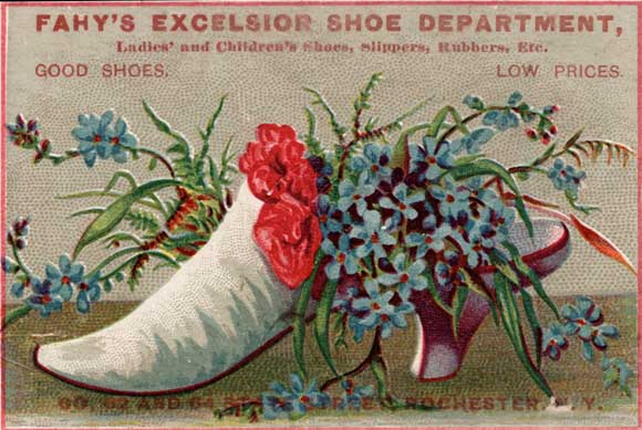 Shoe wholesalers and retailers used trade cards to advertise their newest fashions. No trade cards from the Lion Shoe Company are known to be existence.