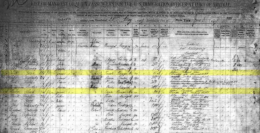 Ship manifest showing Sam listed as Leb [sic] Guss.