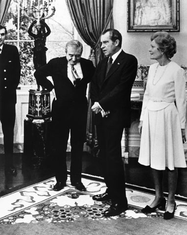 Baruch Korff with Richard and Pat Nixon following a reception at the White House, February 22, 1974