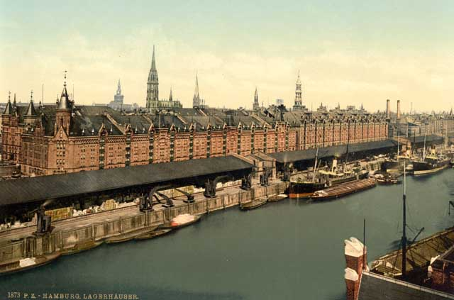 These colorized photographs were created between 1890 and 1900 and show the docks and warehouses in Hamburg, Germany, as Samuel Gass probably saw them. Credit: Detroit Publishing Company; Library of Congress, Prints and Photographs Division [reproduction number LC-DIG-ppmsca, no. 00426 and LC-DIG-ppmsca, no. 0427]