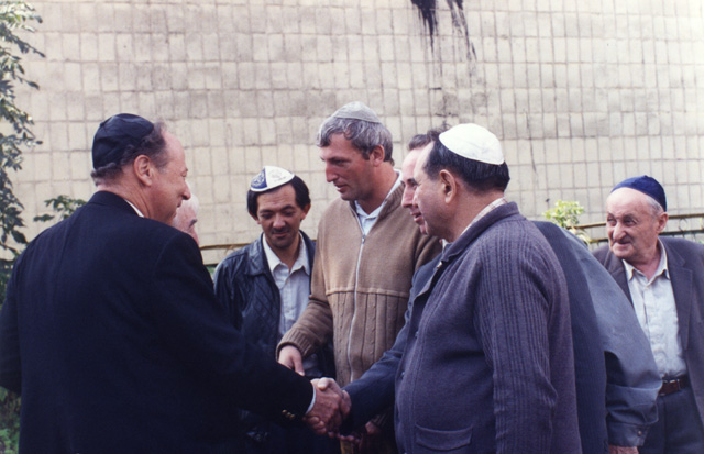 Paul greeting some of the leaders of the Novograd Volynsk Jewish community