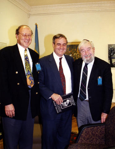 Left to right: Paul Gass, Ambassador Bill Miller, and Baruch Korff