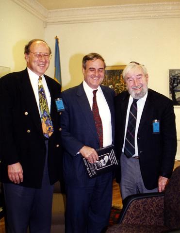 Left to right: Paul Gass, Ambassador Bill Miller, and Baruch Korff