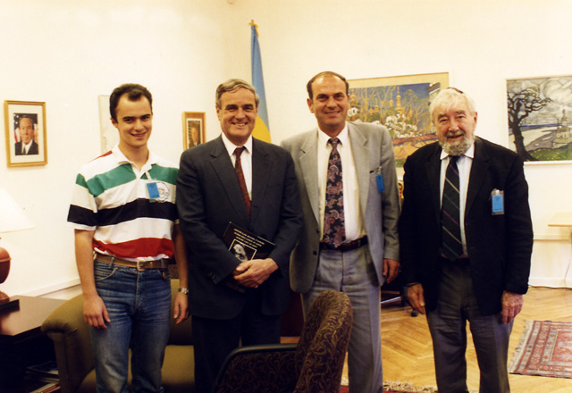 Left to right, Maxim Peisakhov, Ambassador Bill Miller, Vitaly Chumak, and Baruch Korff