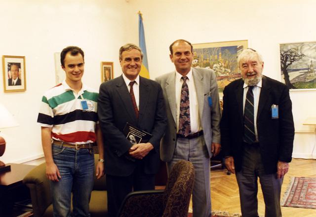 Left to right, Maxim Peisakhov, Ambassador Bill Miller, Vitaly Chumak, and Baruch Korff