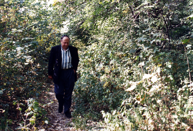 Paul walking in the woods near Babi Yar, stepping quite possibly on soil permeated with the ashes of the people murdered there.